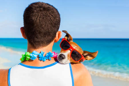 close together: dog and owner sitting close together at the beach on summer vacation holidays, embracing a hug