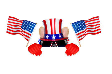 election choices: french bulldog  waving a flag of usa on independence day on 4th  of july  Stock Photo