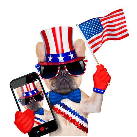 independencia: bulldog franc�s agitando una bandera de EE.UU. el d�a de la independencia el 4 de julio