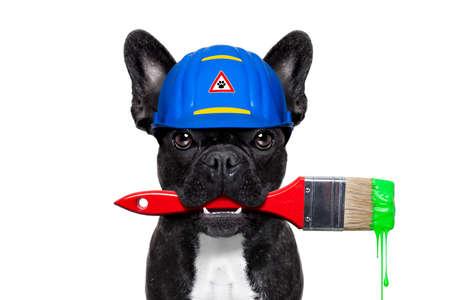 brocha de pintura: manitas trabajador perro pintor con pincel y listo para reparar, arreglar o pintar todo en casa, aislado en fondo blanco