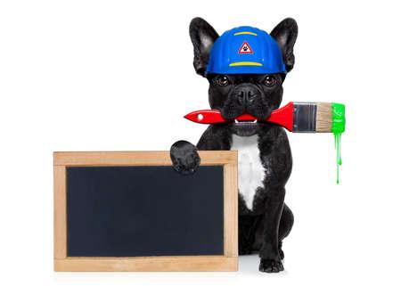 흰색 배경에 고립 된 빈 배너 또는 칠판, 페인트 브러시 입, 수리 준비, 수리 및 집에서 모든 것을 페인트 뒤에 헬멧을 가진 핸디 강아지 작업자