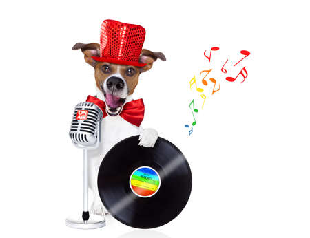 newsreader: jack russell dog , singing a karaoke song using a retro mic or microphone,with vinyl record as dj, isolated on white background