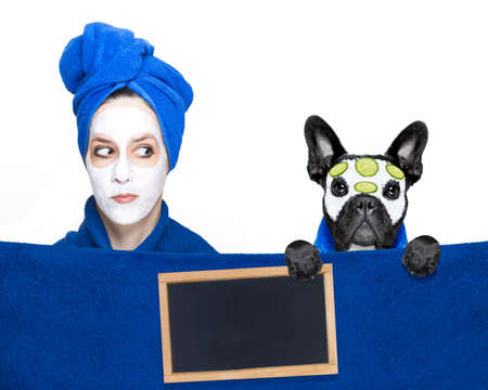 salon and spa: young woman or girl  with beauty facial cream mask on face  with french bulldog with wellness treatment, isolated on white background