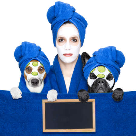 pet therapy: young woman or girl  with beauty facial cream mask on face  with dogs with wellness treatment, isolated on white background