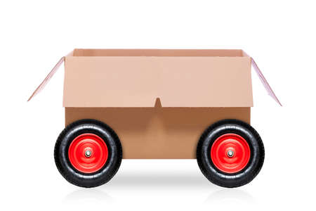 white work: mail  delivery moving box on wheels  isolated on white background