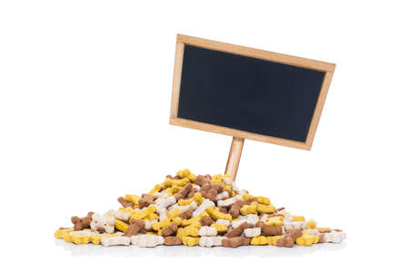 empty: blank empty placard or blackboard behind mound of pet food, isolated on white background