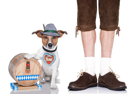 beerfest: jack russell dog with beer barrel and gingerbread heart and owner , isolated on white background