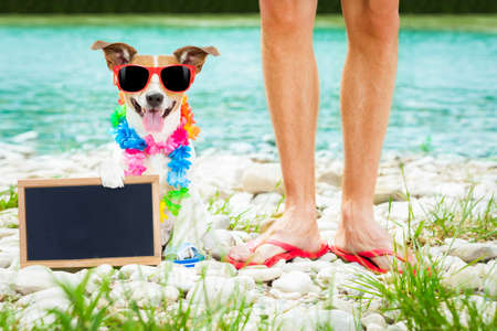 dog and owner  close together at the beach on summer vacation holidays, at ocean or river shore , with sunglasses and flip flops with placard or blackboard banner photo