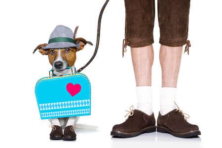octoberfest: bávaro jack russell perro alemán con el bolso y el equipaje, con el propietario y una correa, aislado en fondo blanco, listo para la celebración del festival de la cerveza en Munich Foto de archivo