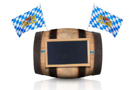 beerfest: bavarian german beer barrel with  flags ,   isolated on white background , ready for the beer celebration festival in munich