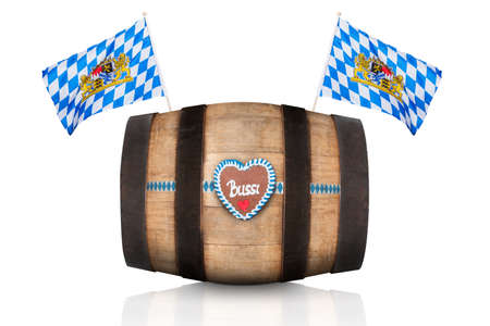 bavarian german beer barrel with  flags ,   isolated on white background , ready for the beer celebration festival in munich