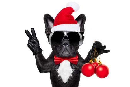 Santa Claus vánoční pes na bílém pozadí, držící vánoční dekorace koule izolován na bílém pozadí a vítězství mírových prstů