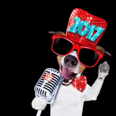jack russell dog celebrating new years eve with old retro microphone and singing out loud, isolated on dark black party nightlife club