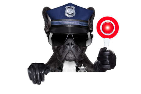 Dogane Polizia CANE SU CON segnale di stop e la mano, isolato su sfondo bianco vuoto, dietro la bandiera nera o cartello