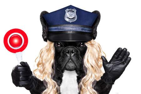 mujer policia: perro policía de servicio con señal de stop y la mano, aislados en blanco de fondo blanco con una peluca rubia divertida