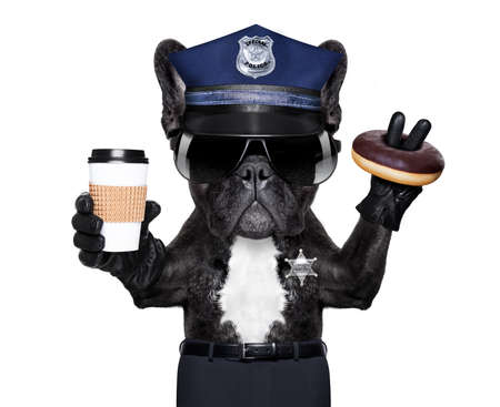 under arrest: POLICE DOG ON DUTY WITH stop sign and hand , isolated on white blank background, having a meal break with donut and coffee
