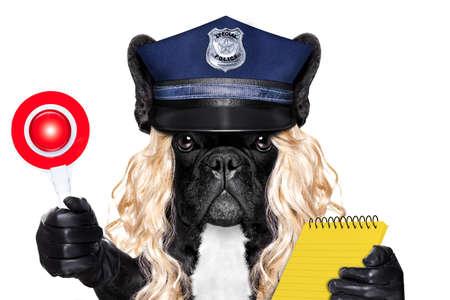 mujer policia: perro policía de servicio CON multa de tráfico y señal de stop aislado en blanco de fondo blanco con una peluca rubia divertida