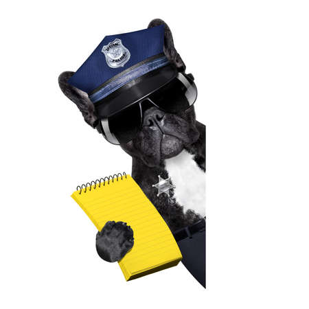 POLICE DOG ON DUTY WITH ticket fine and hand , isolated on white blank background, behind black banner or placard Stock Photo