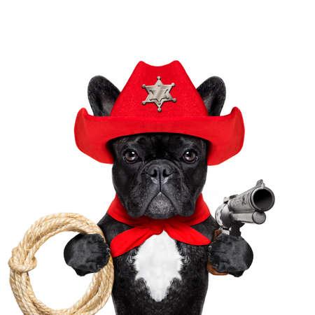 pistolas: vaquero occidental del sheriff perro bulldog francés con una cuerda, bufanda roja y la pistola fuera en el desierto, llevando el sombrero rojo americano Foto de archivo