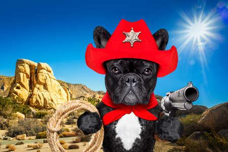Western cowboy sheriff chien de bouledogue français avec corde, écharpe rouge et pistolet à l'extérieur dans le désert, portant un chapeau américain rouge Banque d'images - 73206384