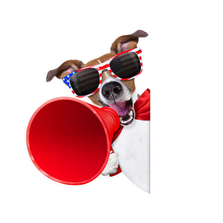 Jack Russell hond schreeuwen met een megafoon 4 juli op onafhankelijkheidsdag, geïsoleerd op een witte achtergrond