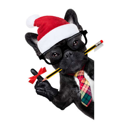 office businessman french bulldog dog with finger ribbon reminder , to not forget something important, behind a  blank white banner or placard, on christmas holidays vacation with santa claus hat