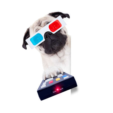 pug dog at cinema watching a movie or television tv programm with 3d glasses isolated on white background, holding the remote control