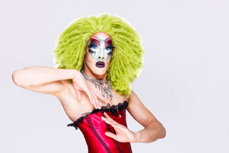 cool drag queen with spectacular makeup, glamorous stylish look, posing with proud and style for lgtb equality rights