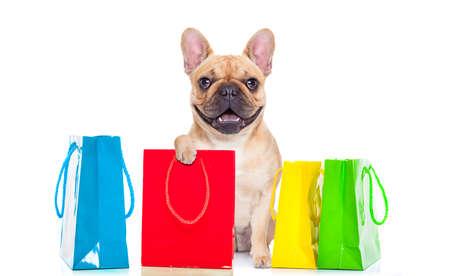 Franse bulldog hond met boodschappentassen klaar voor korting en verkoop in het winkelcentrum, geïsoleerd op een witte achtergrond Stockfoto
