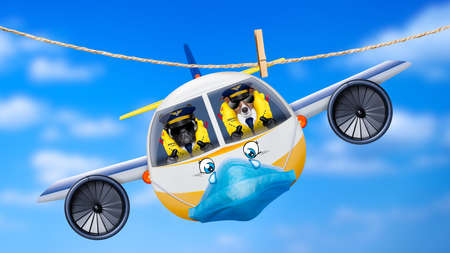 pilot and copilot dogs in cockpit cabin flying , landing or departing for a summer vacation holiday with funny airplane