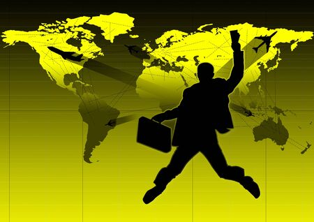 travelling salesman: business and travel, quick and easy, wherever you want Stock Photo