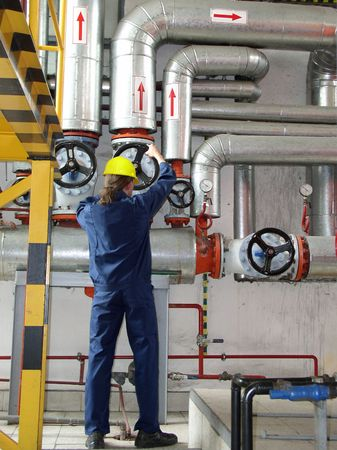 pipelines and engineer, factory Standard-Bild