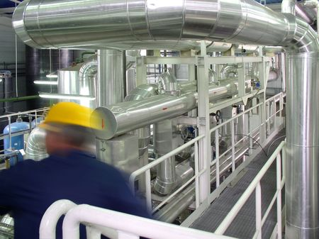 pipelines and engineer, factory Stock Photo - 2412706