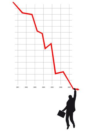 diagram, business, bankrupt, falling, line