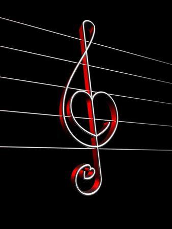 Symbol of love sound, treble clef photo