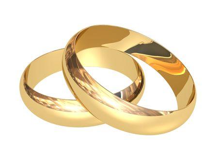 anillos de boda: Dos anillos de boda sobre un fondo blanco Foto de archivo