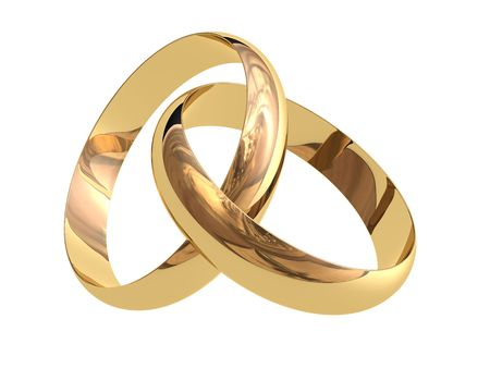 gold rings: Two linked wedding rings on a white background