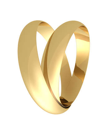 karat: Two wedding rings on a white background like a one heart Stock Photo