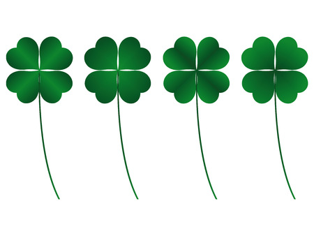 four leafs clover: clover four leafs, luck and fortune Illustration