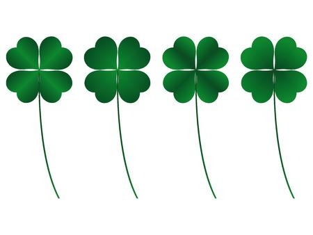 four leafs clover: El tr�bol de cuatro hojas, suerte y fortuna  Vectores