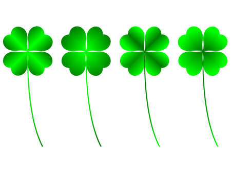 four leafs clover: clover four leafs, luck and fortune Stock Photo
