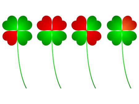 four leaved: clover four leafs, luck and love