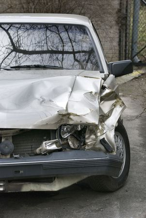 negligent: car after crash on road Stock Photo