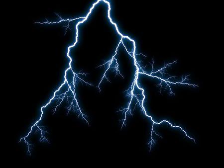 thundering: Generic lightning on black background Stock Photo