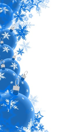 Illustration of blue festive background, baubles at bottom, copy space in middle.