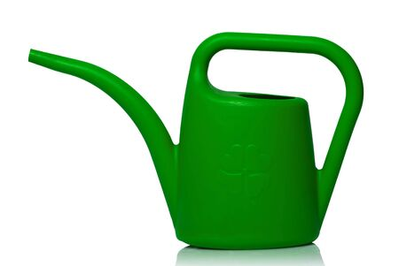 watering can: watering can with clover four leafs on white background