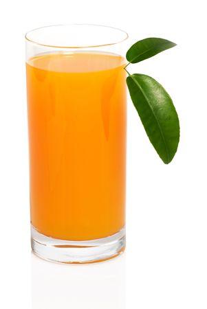 Fresh orange juice on white background photo
