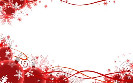 Illustration of red festive background, baubles at bottom, copy space in middle. illustration