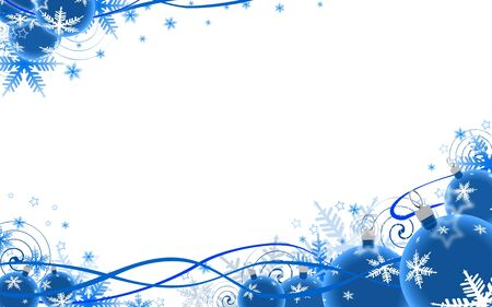 Illustration of blue festive background, baubles at bottom, copy space in middle. illustration