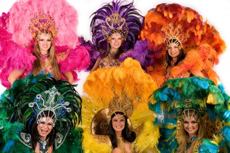 Beautiful carnival dancers in amazing costume photo